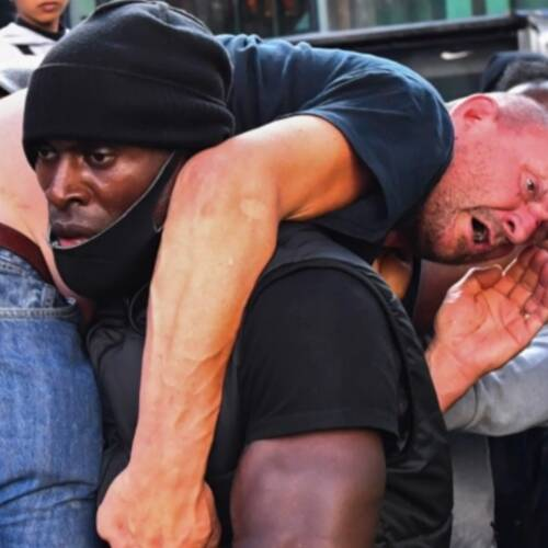 Black Lives Matter Protester Rescues Far-Right Man